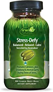 Irwin Naturals Stress-Defy Healthy Stress Response Support Supplement - Relax Body & Mind with GABA, Rhodiola, Scullcap & L-Theanine - 84 Liquid Softgels