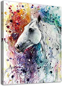 "arteWOODS Colorful Horse Canvas Wall Art Modern Horse Head Watercolor Canvas Artwork Steed Portrait Contemporary Wall Art for Home Decor Bedroom Living Room Decoration Framed Ready to Hang 12"" x 16"""