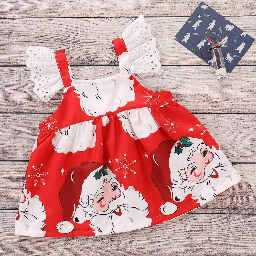 Toddler Infant Kids Baby Girls Tutu Skirt Sleeveless Cartoon Print Dress Christmas Dresses Dream Room Dresses