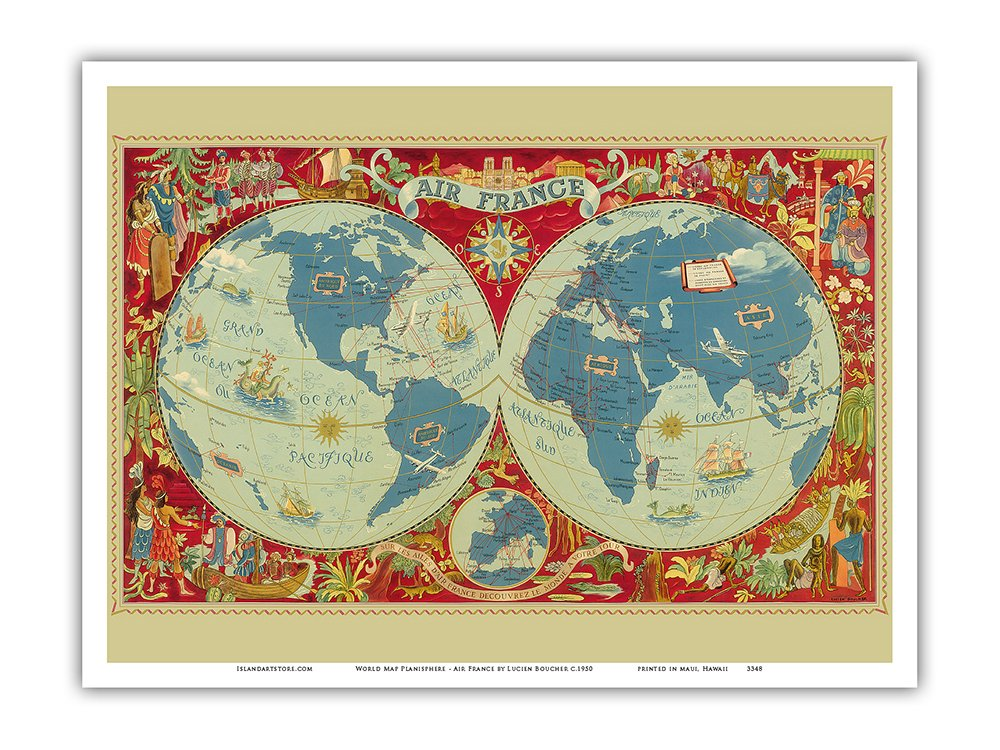 Amazon Pacifica Island Art World Map Planisphere France