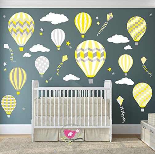 Hot air balloon wall stickers kites white clouds stars kids wall decal