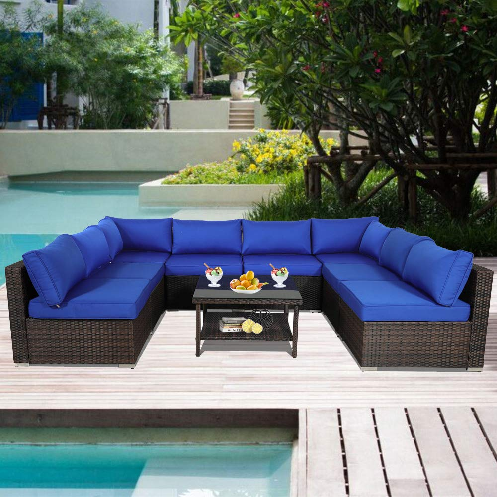 Outdoor Rattan Couch 9pcs Brown Wicker Sectional Conversation Sofa Set Lawn Garden Patio Furniture Set with Royal Blue Jetime