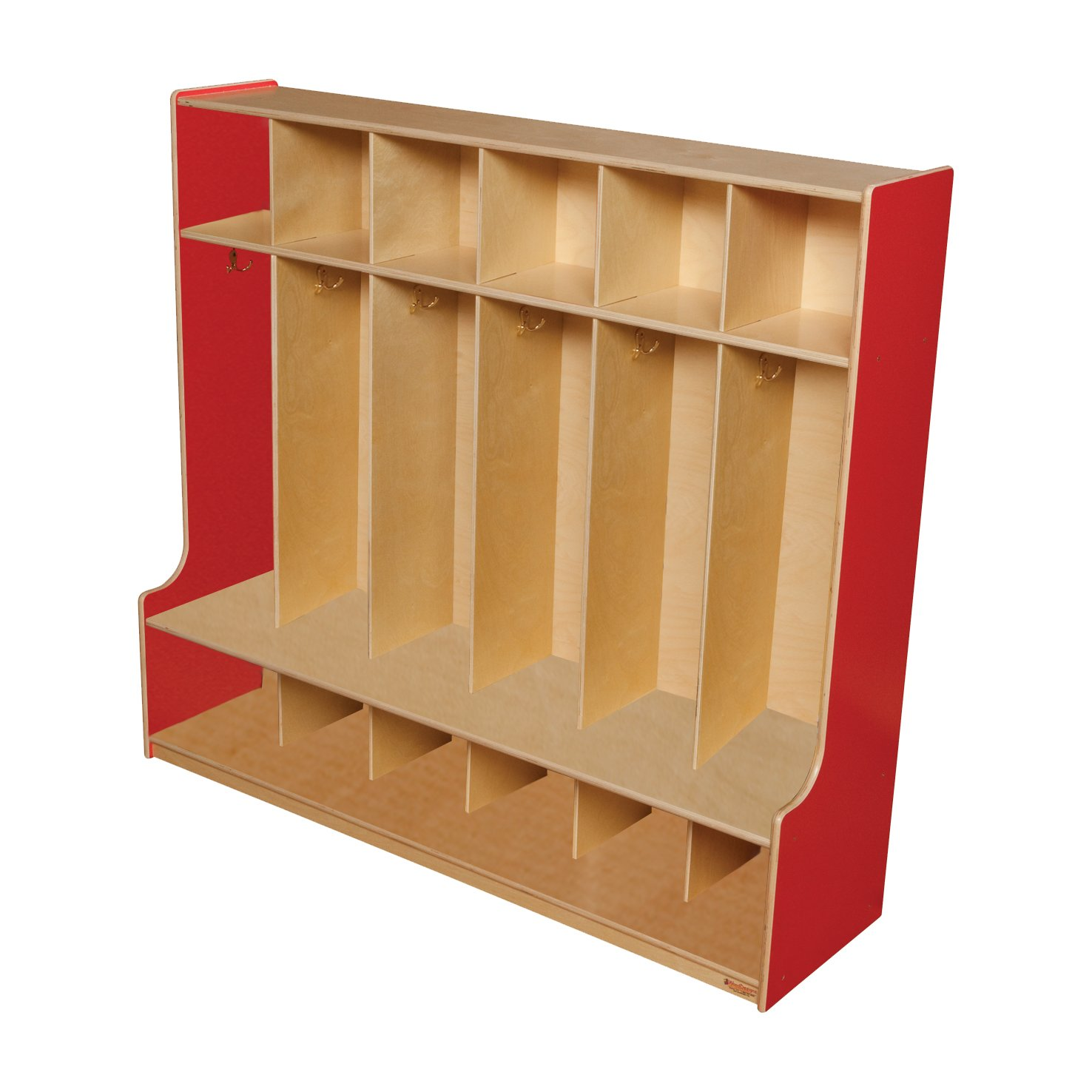 Wood Designs 51006R Strawberry Red 6 Section Seat Locker, 49'' Height, 18.5'' Width, 57'' Length