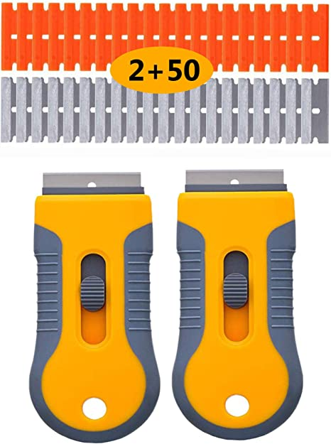 2 Pack Scraper Tool with 10 Extra Sharp Replacement Razor Blades for Scraping Labels Adhesive Removal Paint from Glass Caulk Decals Multi Purpose Razor Blade Scraper Stickers
