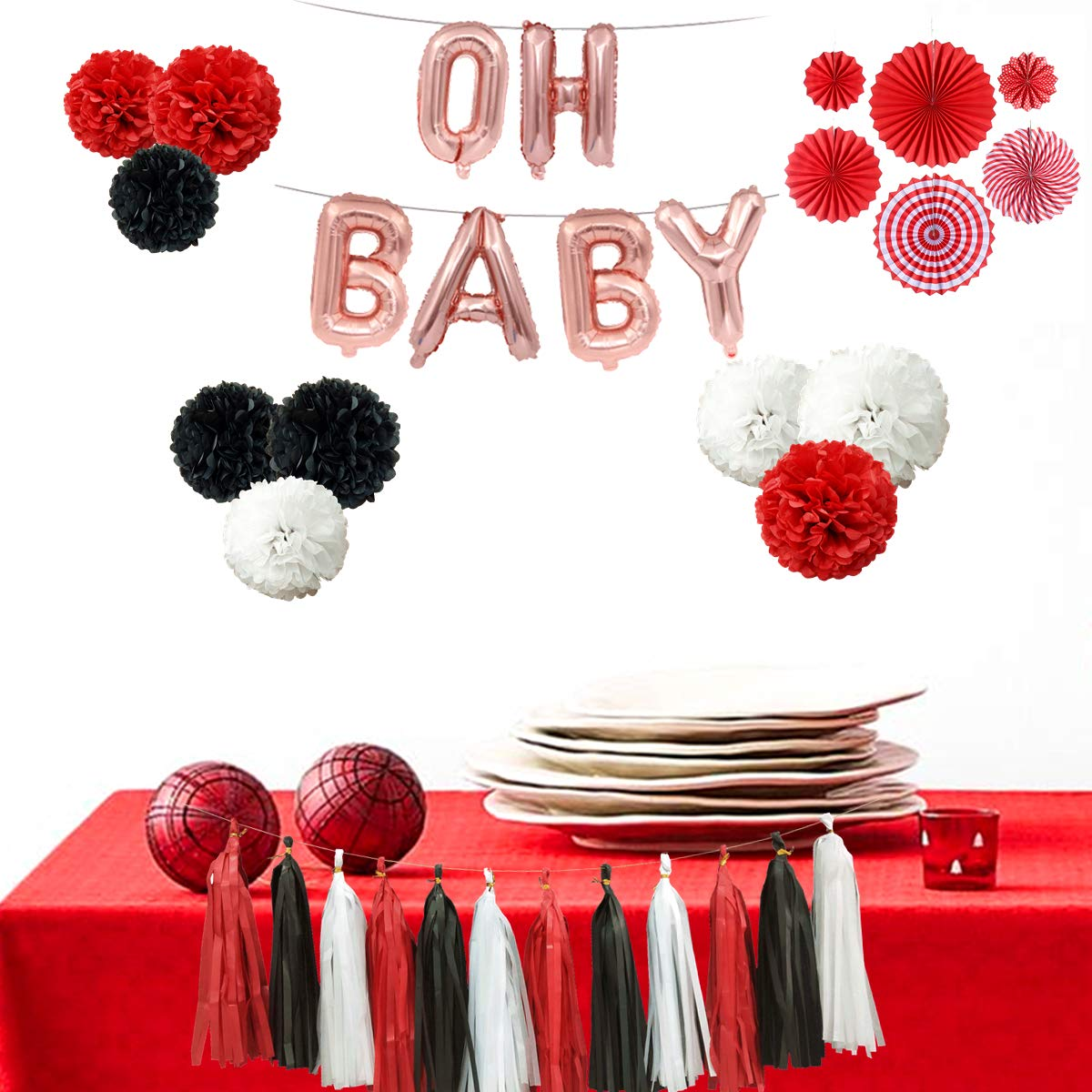 Mickey Mouse OH Baby First Birthday 31PCS Red Black White Baby Shower Minnie Mouse Party Decoration Supply Kit - 16'' OH Baby Balloon Banner, 12'' 10'' 8'' Tissue Paper Pom Pom, Paper Fan, Tassel Garland