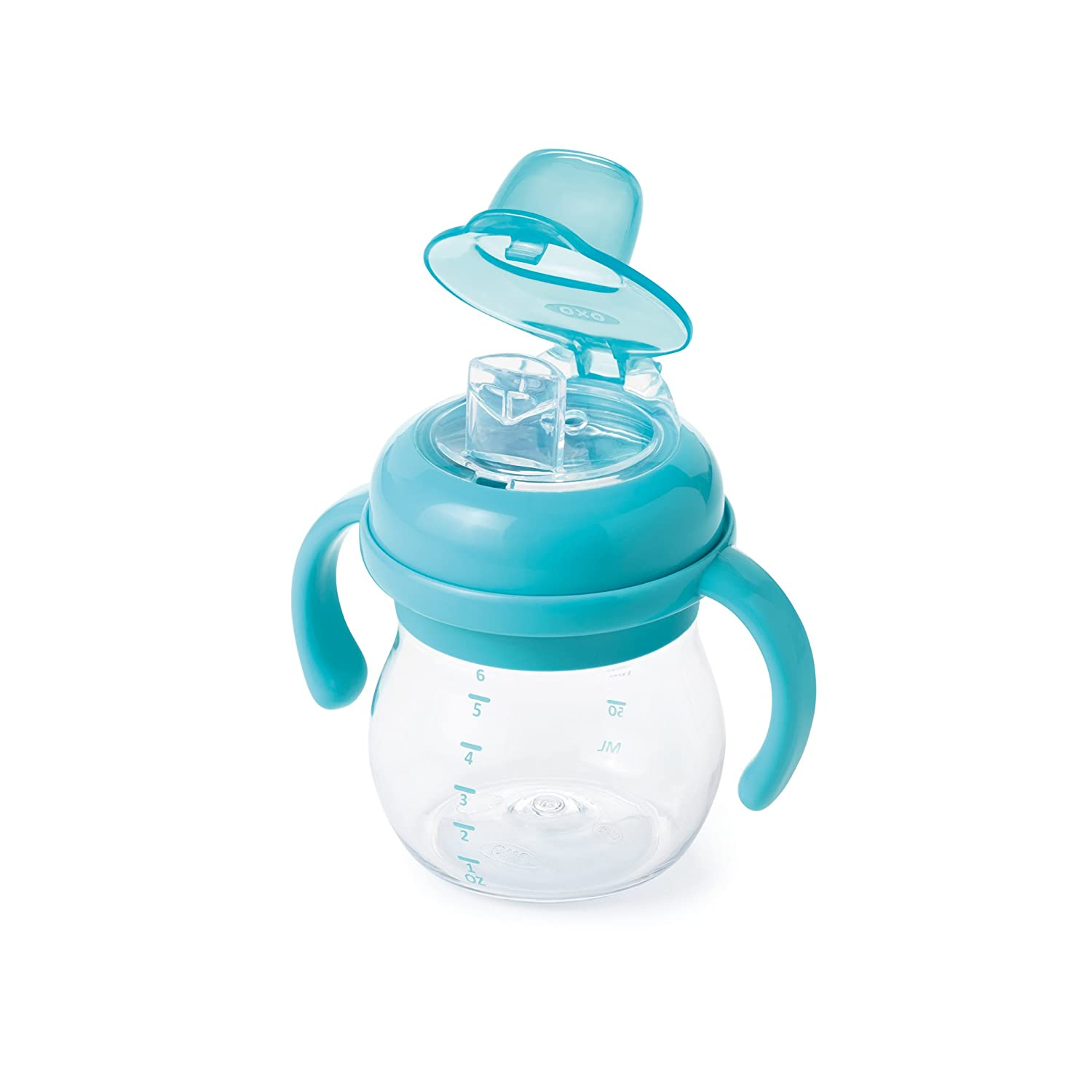 Oxo Tot Unisex 6 Oz Transitions Soft Spout Cup with Removable Handles, Aqua 6127700