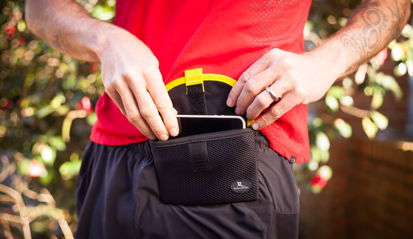 Running Buddy Magnetic Buddy Pouch: Magnet Pocket Pouches for Cell Phones, iPhone & Other Gear - Beltless Running Pouch Waist Bag for Running, Jogging, Traveling, Hiking & Cycling (3 Sizes)