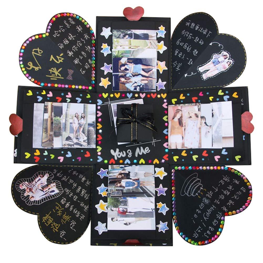 VEESUN Album Foto, Esplosione Box Scrapbook Creativo Album Fotografico Fai da Te, Matrimonio Idee Regalo Festa della Compleanno Mamma Donna Uomo Maestra Bambina Ragazza Bimbo, Nero