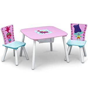 Delta Children Kids Table and Chair Set With Storage (2 Chairs Included) - Ideal for Arts & Crafts, Snack Time, Homeschooling, Homework & More, Trolls World Tour
