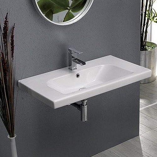 CeraStyle 081600-U-One Hole Lisboa Rectangle Ceramic Wall Mounted Self Rimming Sink, White