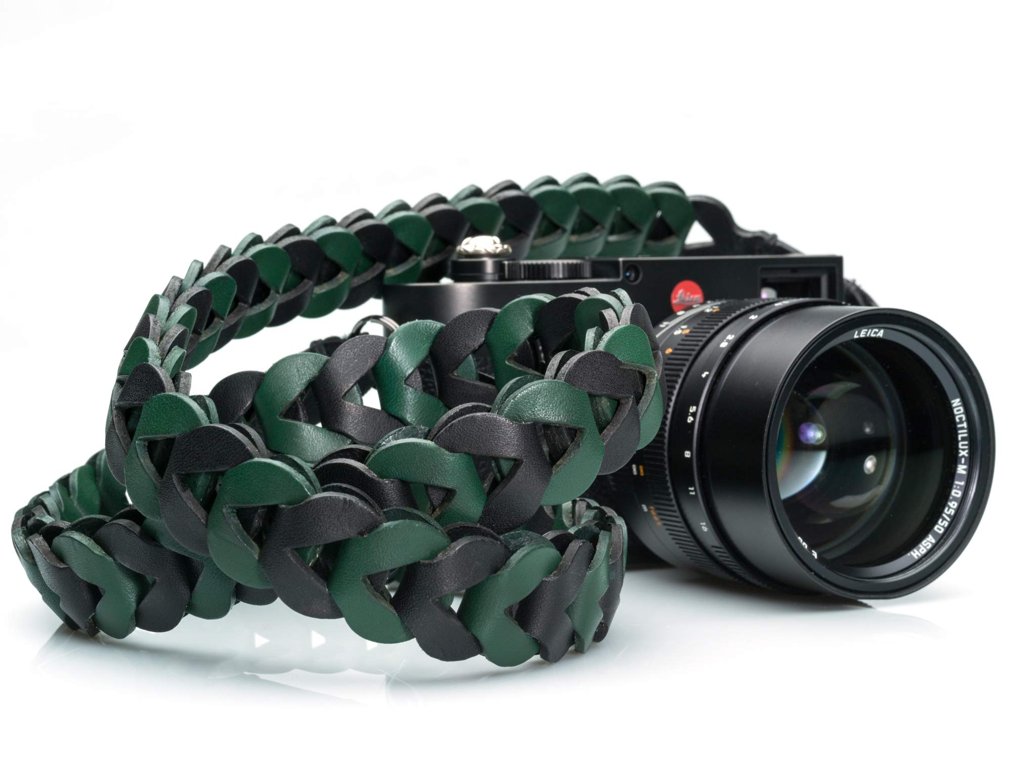 Vi Vante Victory Hulk Edition Leather Luxury Camera Strap Black and Emerald Green Links 47 inches