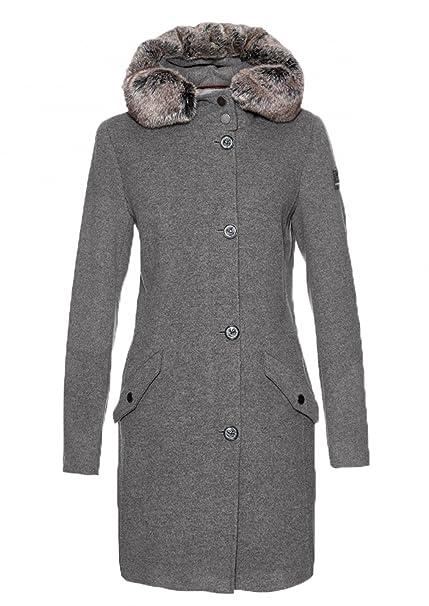 Frieda Freddies Damen Taillierter Woll Mantel Mit Kapuze In Grau