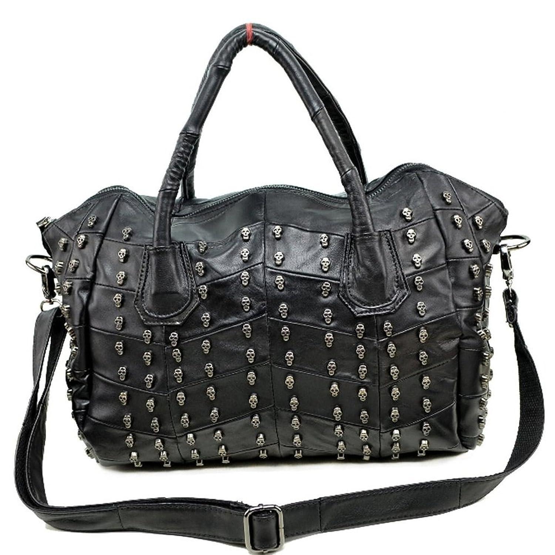 C&L Sheepskin Women's Retro Gothnic Skull Rivet Shoulder bag Messenger bag