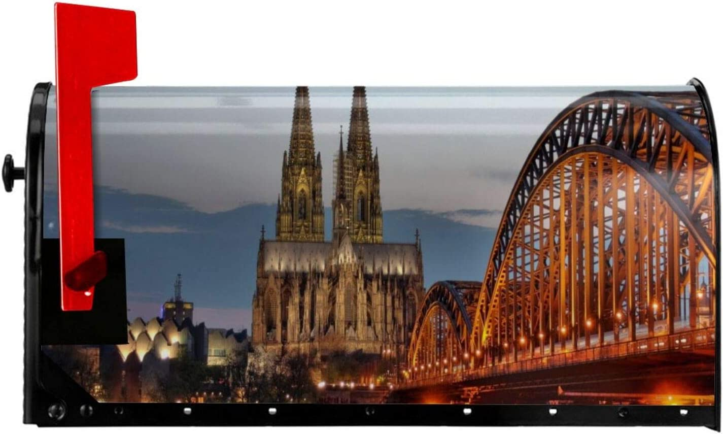 pengyong Cologne Old Bridge and Rhine River at Sunset Mailbox Cover Magnetic Mailbox Wraps Post Letter Box Cover Garden Yard Home Decor for Outside