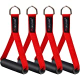 Coolrunner 2 Pair Resistance Band Handles Grips Fitness Strap Wide Design Heavy Duty Cable Handles with Solid ABS Cores, Durable Carabiners with Heavy Gauge Welded D-Rings