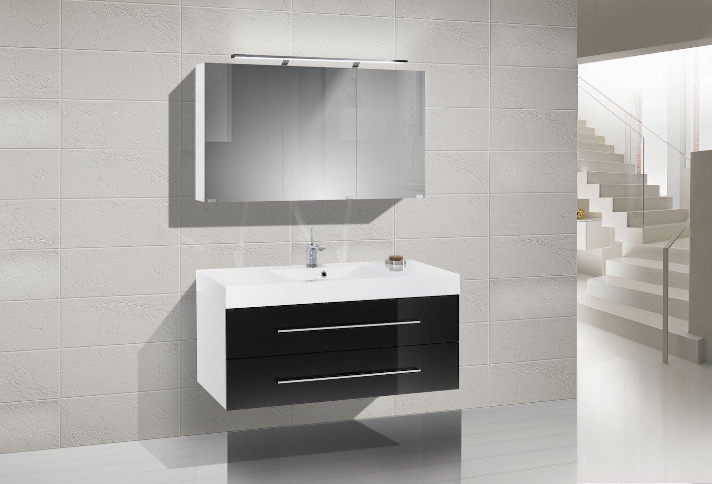 Badmöbel Set mit Waschbecken 120 cm und Spiegelschrank