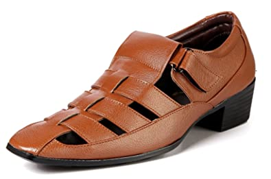 7a68588cf81d BXXY Men Tan Height Increasing Synthetic Leather Roman Outdoor Casual  Sandals Pu Sole  Buy Online at Low Prices in India - Amazon.in