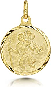 Amberta 925 Sterling Silver - - Pendant with St Christopher Engraving - Protection Medallion for Men and Women - Coin for Travelers