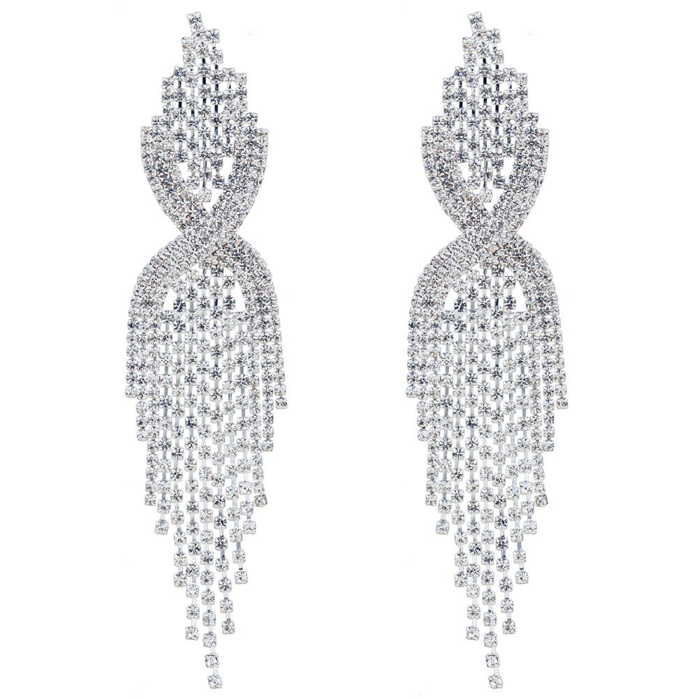 CHRAN Silver Rhinestone Long Tassels Dangle Chandelier Earrings Jewelry Size 3.5''