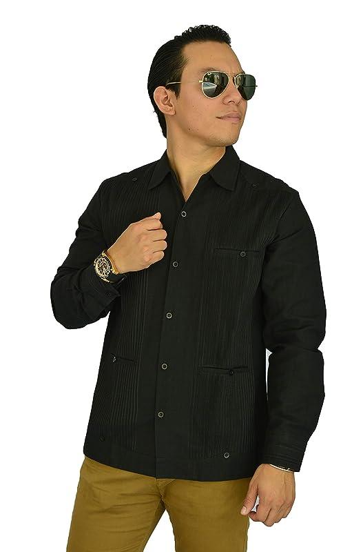 Guayabera yucateca de lino negra