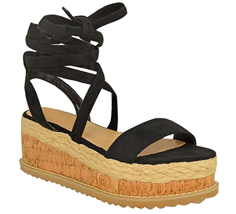 Fashion Thirsty Sandales Plates Compensé es - Liè ge - Lacets Cheville - Femme