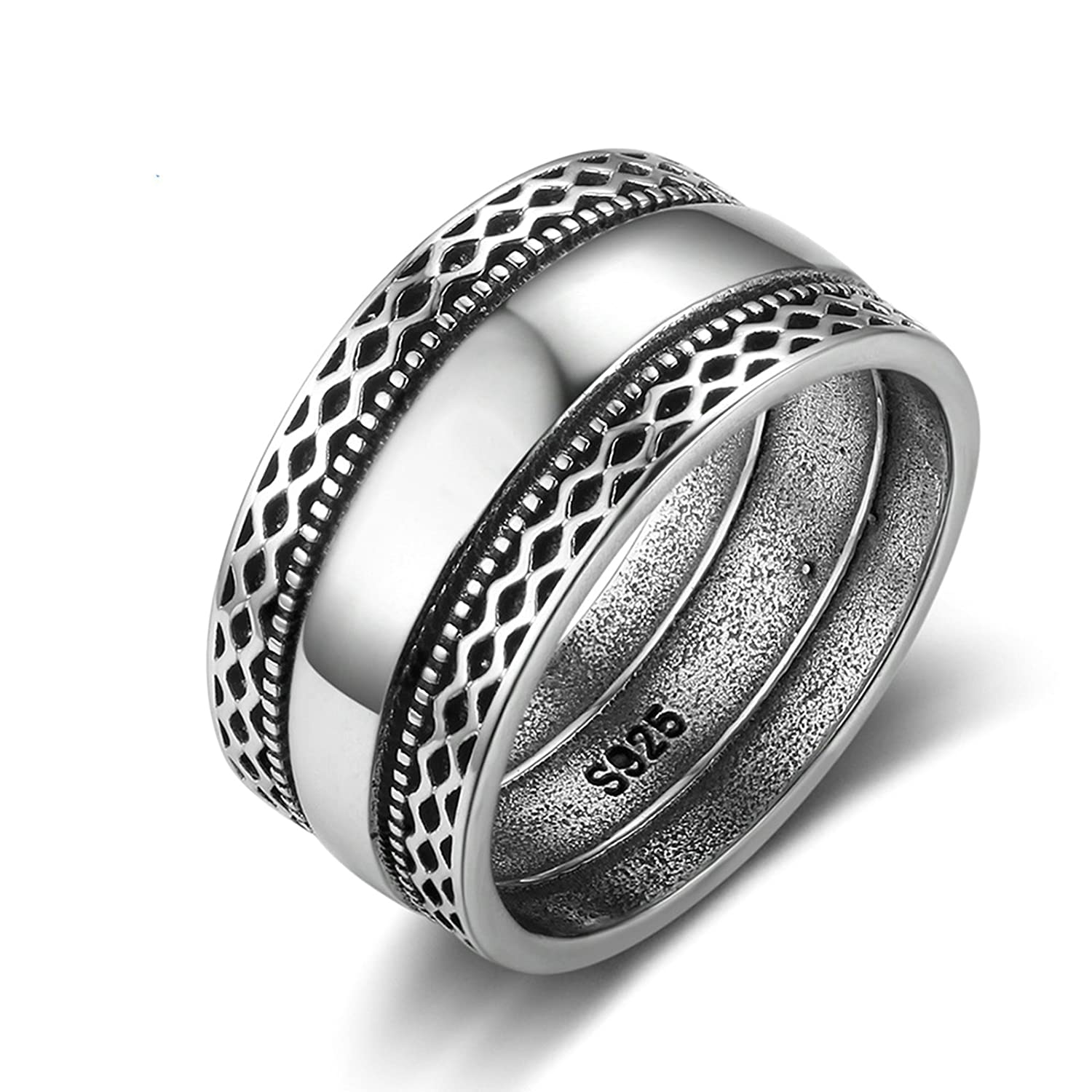 Gnzoe S925 Sterling Silver Wedding Ring for Women Polished