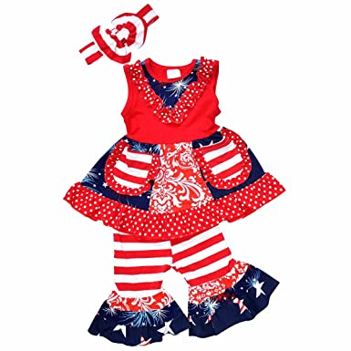 0111c205c332 Unique Baby Girls 4th of July Tank Boutique Outfit with Headband (1 Year XXS