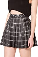 Plaid Skirt - Women Stretchy Printed Pleated Skater Mini Skirts Plus Size by TOFLY