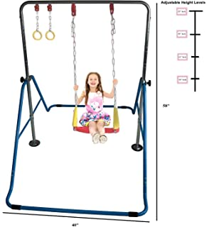 Blue HUAWELL Wooden Trapeze with Plastic Gym Rings Outdoor N Indoor Playground 2 in 1 Swing Set Accessories for Kids