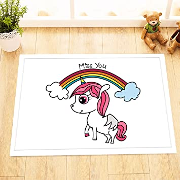 LB Cute Kawaii Pink Unicorn Drawing Small Bedroom Rugs Soft Microfiber Surface Non Slip Rubber