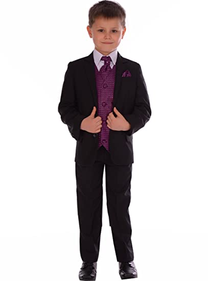 542e55e20 Boys Suits Black Fitted Suit With Purple Waistcoat