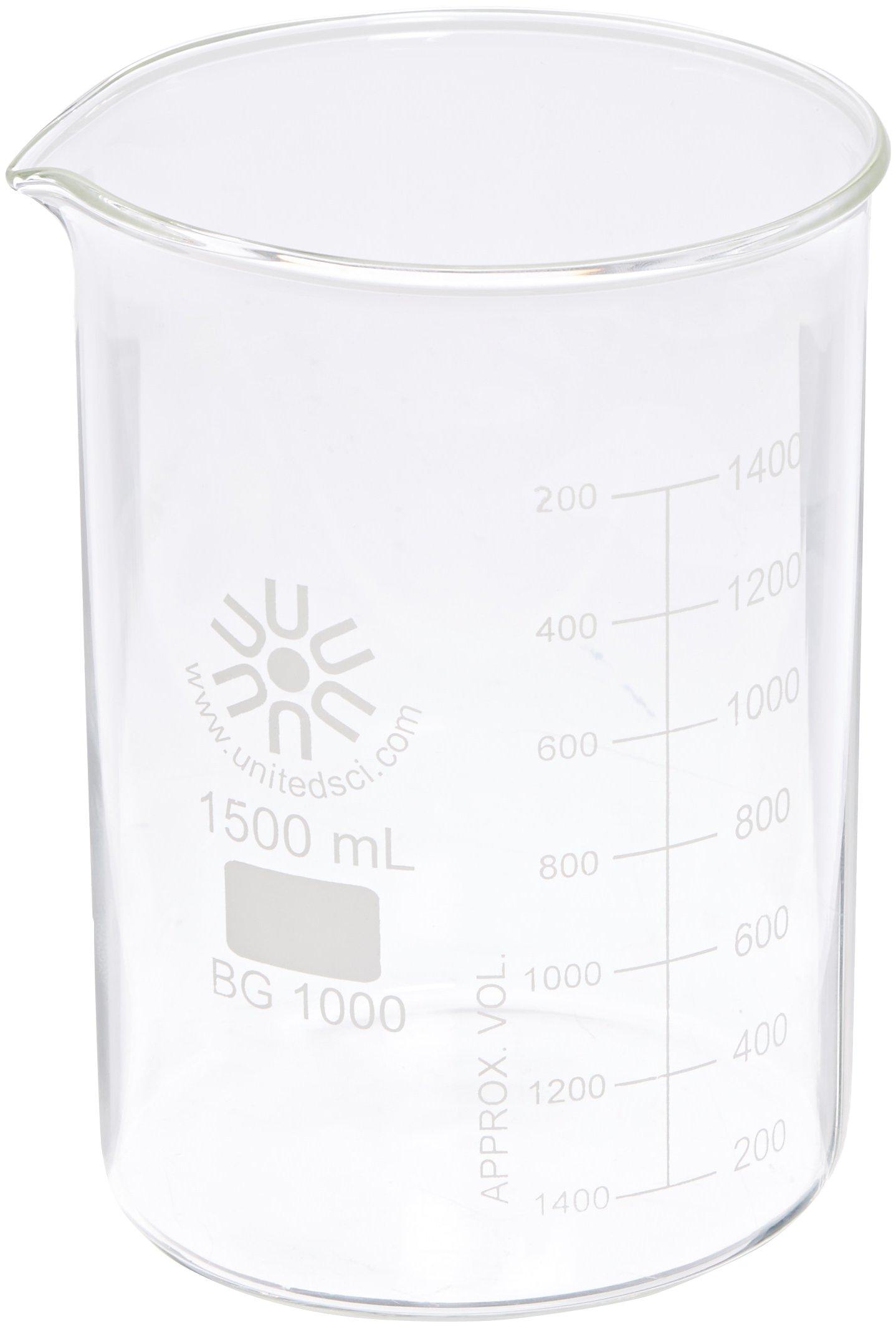 United Scientific BG1000-1500 Borosilicate Glass Low Form Beaker, 1500ml Capacity (Pack of 4)