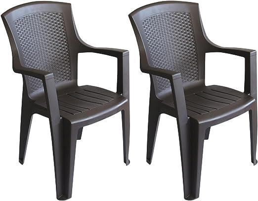 2 pieza silla apilable silla look Jardín Silla de jardín de ratán plástico Bistro silla balcón terraza para muebles – Marrón: Amazon.es: Jardín