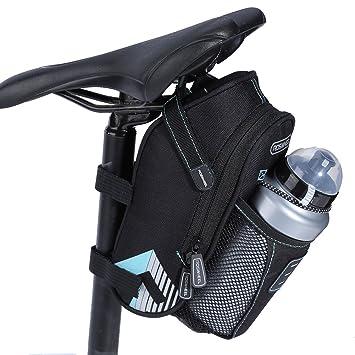 Alomejor - Sillín para Bicicleta (Impermeable, con Bolsillo para Botella de Agua, Accesorios para Bicicleta de Montaña), Sky Blue(Without Taillight): ...