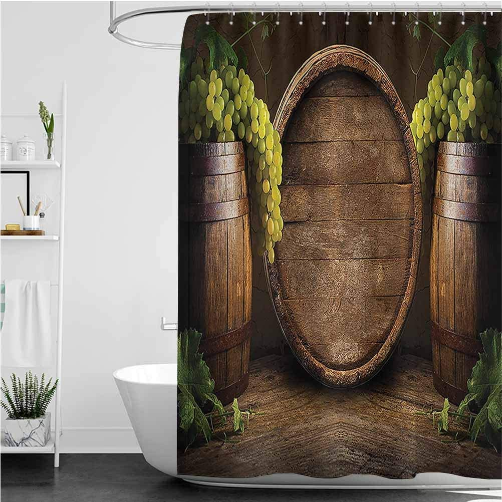 Interestlee Winery Shower Curtains for Bathroom, Still Life of Wine with Wooden Keg Ancient Old Fashioned Wine Keeper Tasting Scene Polyester Fabric Shower Curtain, 72