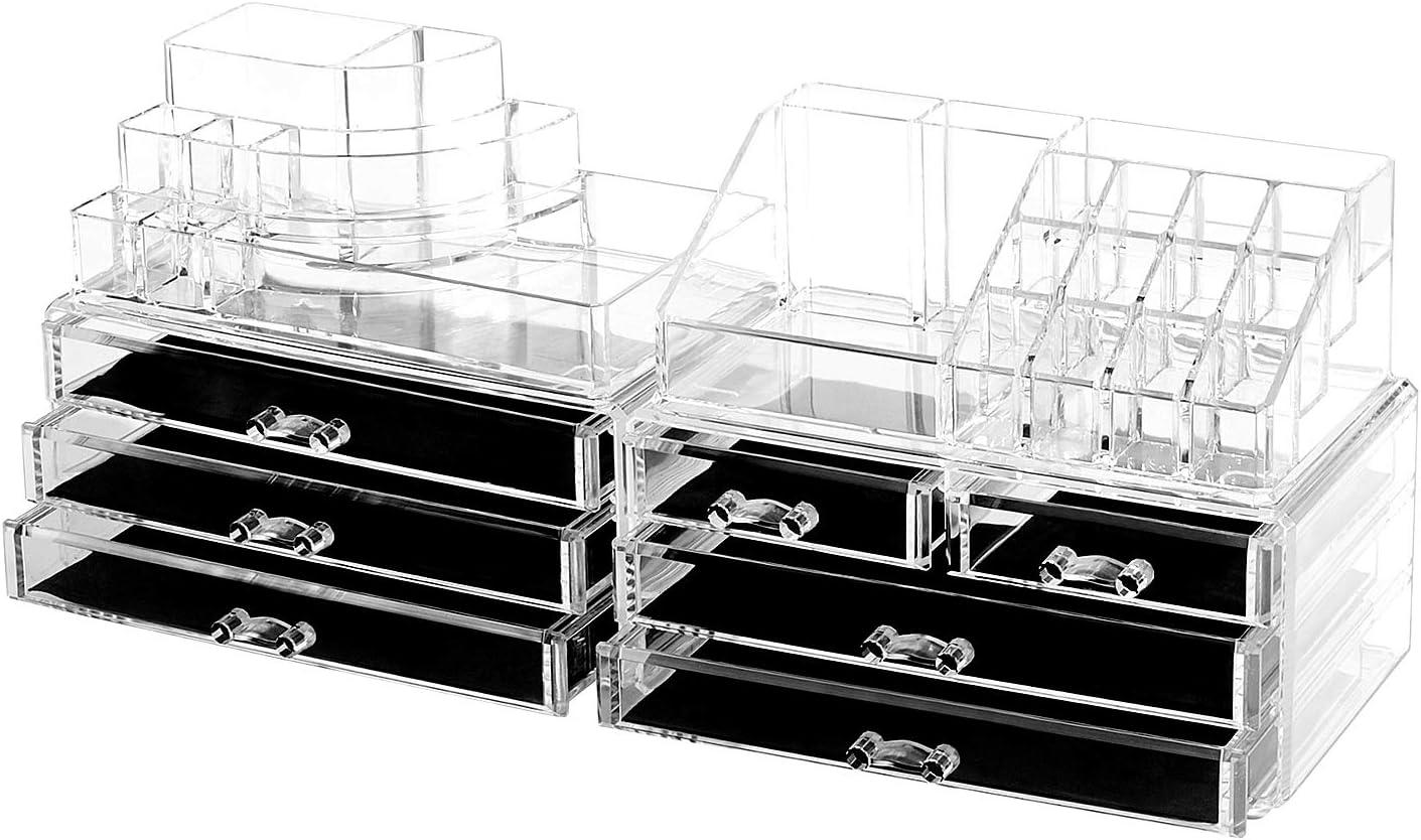 oule GmbH Maquillaje Almacenamiento Organizador 4en 1de maquillaje joyas de caja transparente acrílico con 7cajones 8niveles