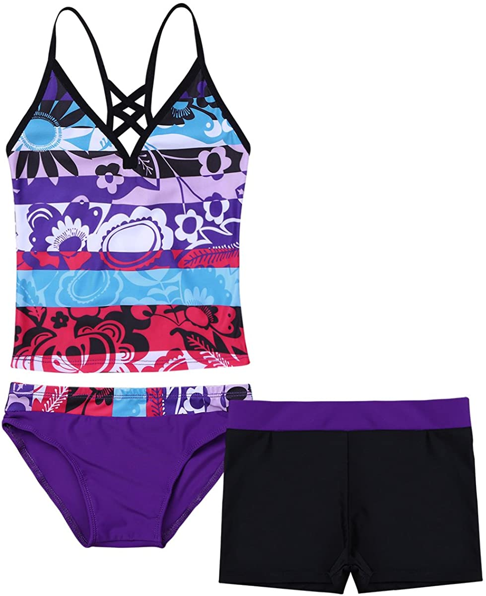 Kaerm Big Girls Tie Dye 3 Pcs Tankini Set Criss Cross Top with Brief Shorts Swimsuit Beachwear