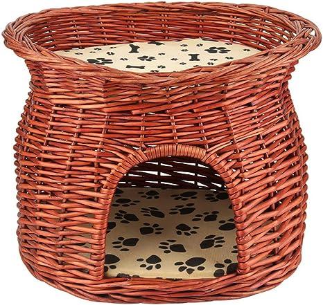 Amazon.com: Zerone - Cama de 2 capas, de mimbre, para gatos ...