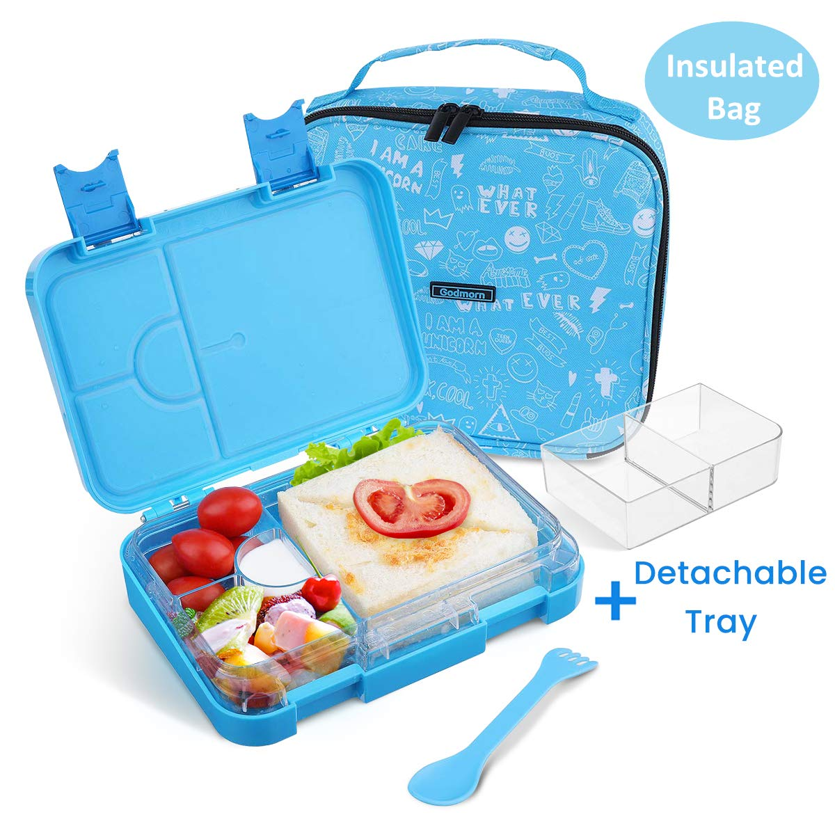 df6754fb87e9 Lunch Boxes for Kids Bento Box | Godmron School Lunch Container for Girls  Boys with Insulated Bag Spoon Fork, Leak-proof, BPA-Free, 4/6 Compartments  ...