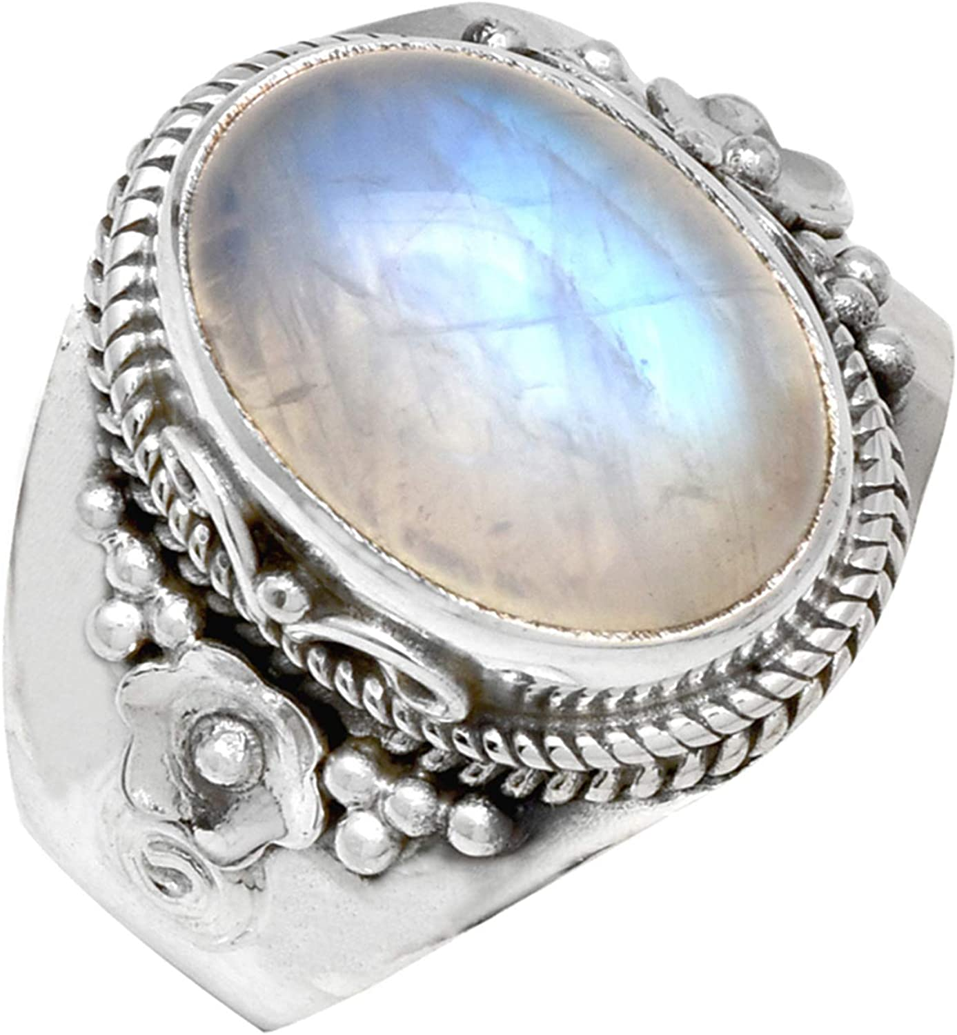 YoTreasure Solid 925 Sterling Silver Rainbow Moonstone Ring