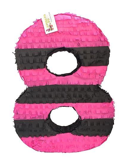 Amazon.com: apinata4u número Ocho Piñata rosa y negro octavo ...