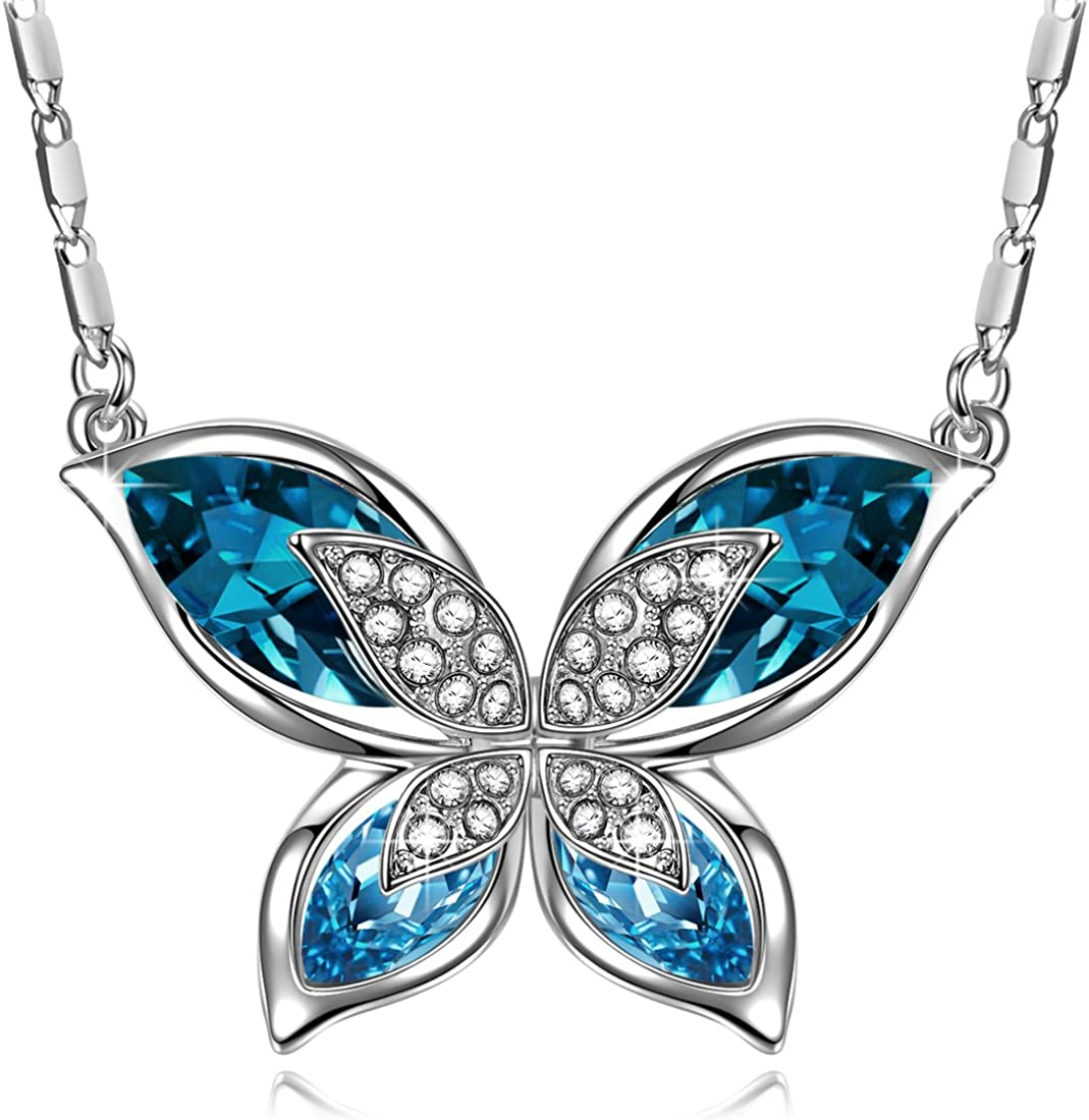 J.RENEÉ Mariposa Colgantes Mujer, con Cristal de Swarovski, Joyas para Mujer, Regalos Mujer