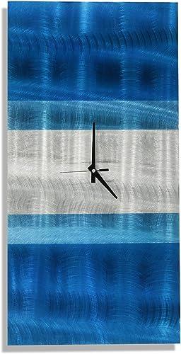 Statements2000 Metal Wall Clock by Jon Allen – Blue Teal Modern Abstract Metal Wall Art Decor, 24 x 12 , Crest Clock