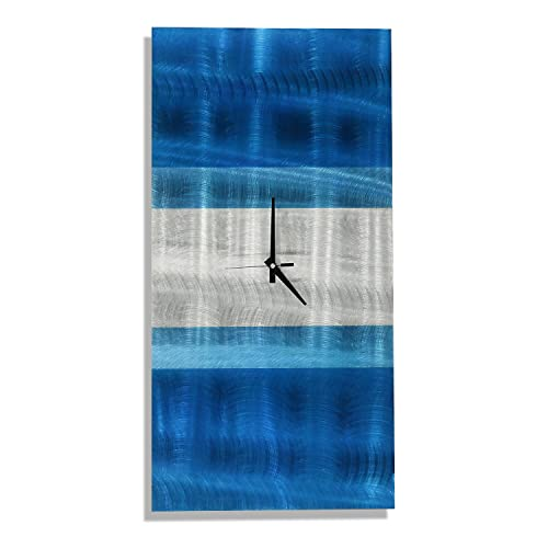 Statements2000 Metal Wall Clock by Jon Allen – Blue Teal Modern Abstract Metal Wall Art Decor, 24 x 12 , Crest Clock