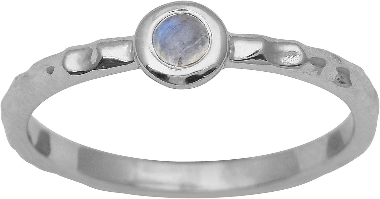 Shine Jewel Anillo de mango martillado piedra de luna arcoiris con solitario de plata de ley 925 para mujer