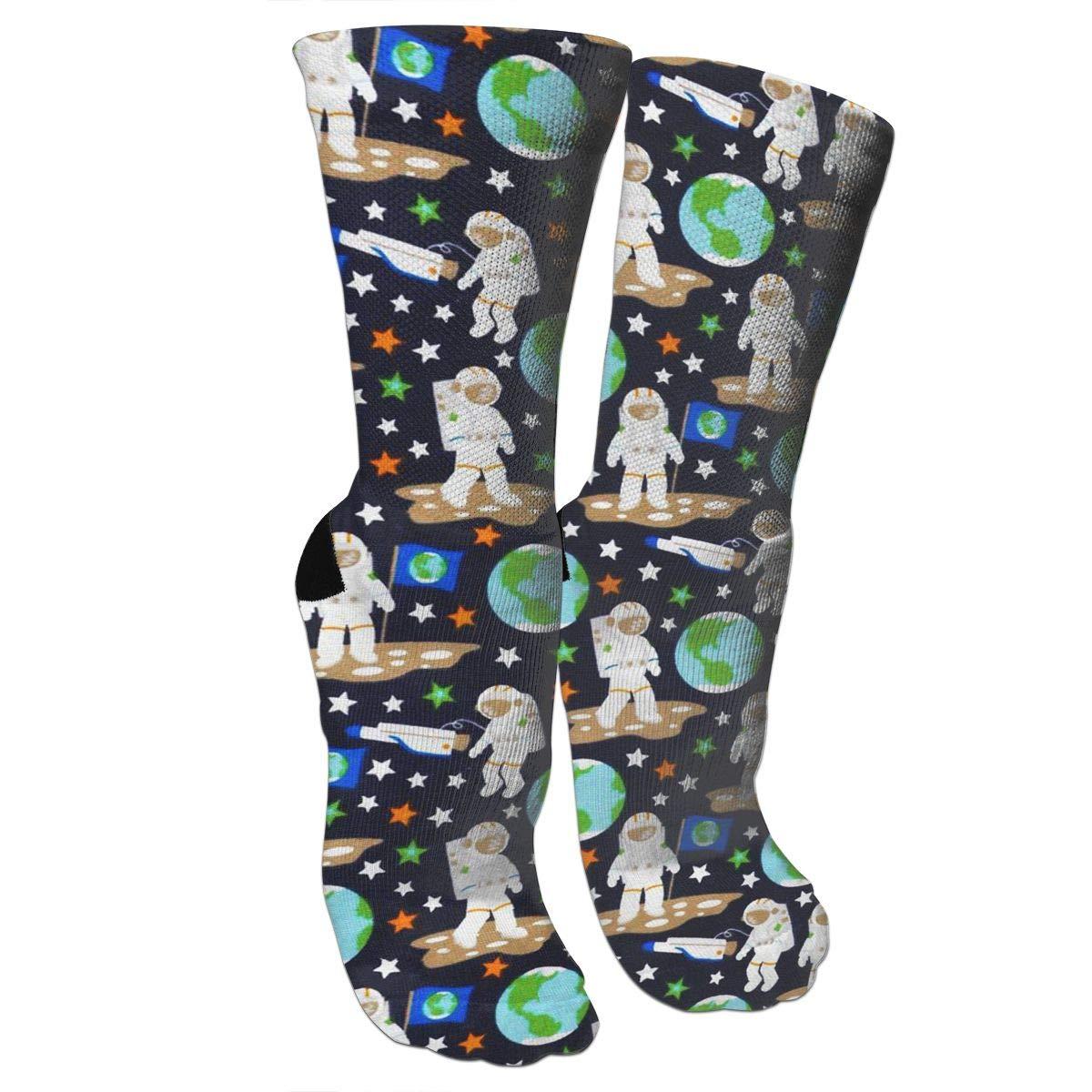 Astronaut Art Casual Socks Crew Socks Crazy Socks Soft Breathable For Sports Athletic Running