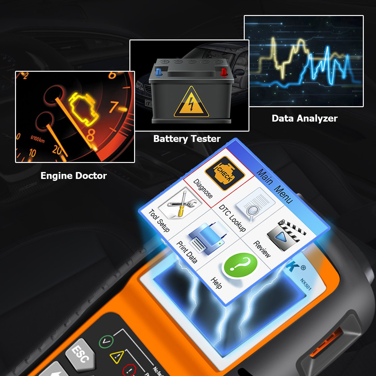 Nexpeak Obd2 Scanner Nx501 Enhanced Obd Ii Auto Code Product 2003 This Circuit Tester To Test The Battery Kit Reader Car Diagnostic Scan Tool Vehicle Check Engine Light Analyzer Automotive