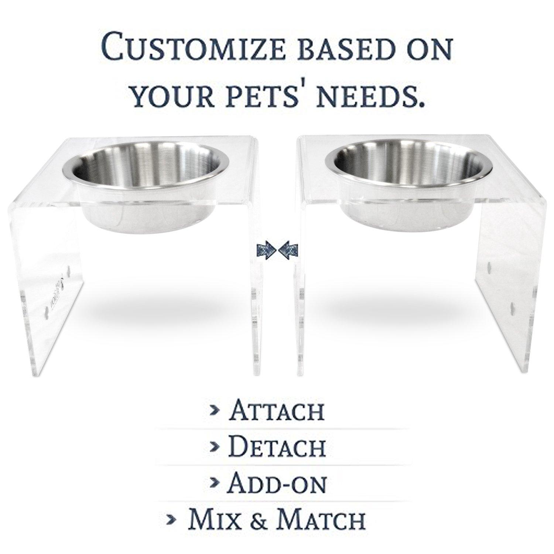 PetFusion Elevated SinglePod Magnetic Dog Feeder [Acrylic w/Embedded Magnets; Attach, Detach]. (Tall, Set of 2), 11 x 11 x 9 Each