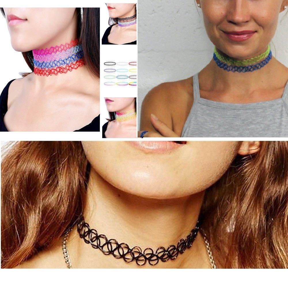 12PC Set Choker Rainbow Flower Collar Necklace for for girls kids