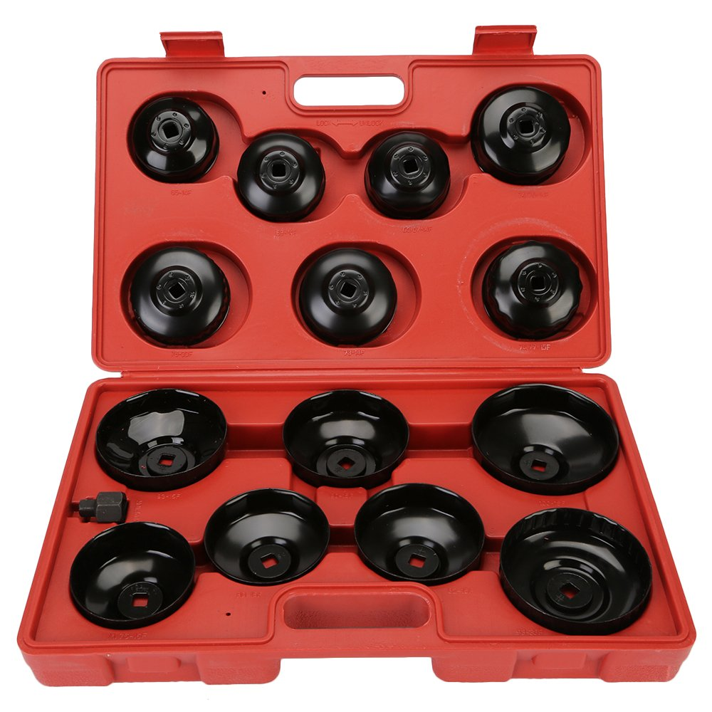 DIFEN Universal Oil Change Filter Cap Wrench Cup Socket Tool Set (14PCS/Set) by DIFEN (Image #1)